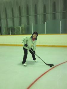 Here I am honing my ice hockey skills.